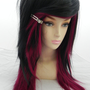 SHOP-WIDE SALE Dark Auburn Red and Black / Long Straight Layered Wig