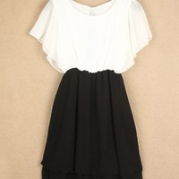Casual Women Spliced Black Whites Chiffon Frilled Sleeve Elegant Empire Line 87