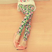 Vintage Flower Elastic Slim Leggings