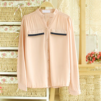 CHIFFON SHIRT BLOUSE SHIRT WITH EYE LIKE POCKET 156