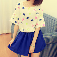 Fluorescence Color Slips Half Sleeves Loose T-shirt