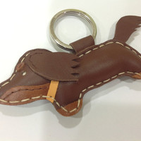 Rocker the Running Dachshund Leather Keychain ( Brown / Orange collar )