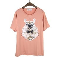 Cute Kitty &amp;Angeles Rivet Print Pink T-shirt