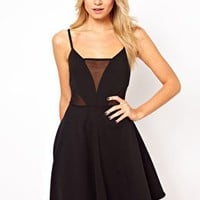 ASOS Cami Skater Dress With Mesh Inserts at asos.com