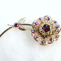 Vintage Brooch Sarah Coventry Fashion Flower  c1950-60's  Huge