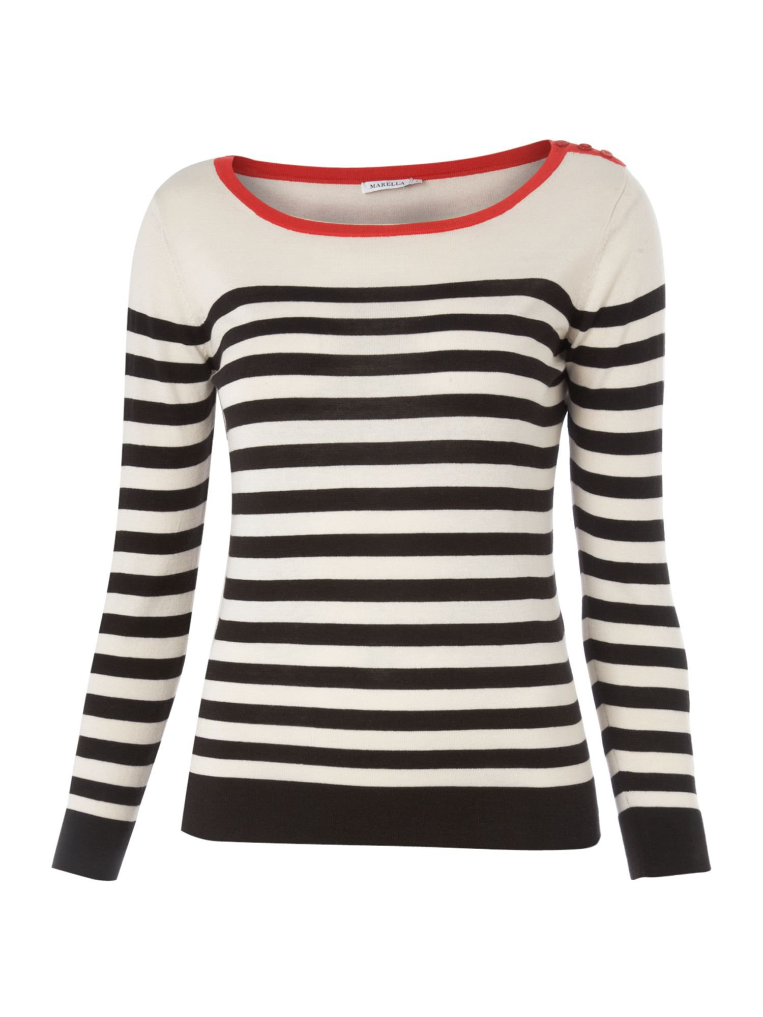 Marella Parole silk mix striped knit Cream - House of Fraser