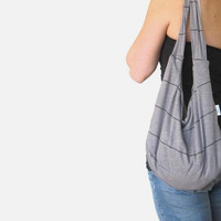 Hobo Bag. Slouch Bag. Sling Purse. Gray and Black Striped Purse. Add on Zipper and Pocket to Design your Own Bag. Spring/Summer Fashion.