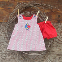 Baby Girl Clothes, Red, White ,Blue, Button shoulder Embroideried  Dress with bloomers size 6 months or 12 months