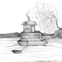 Abstract Art Figurative House Boat Black And White Drawing Annies River By Romi Painting by Megan Duncanson - Abstract Art Figurative House Boat Black And White Drawing Annies River By Romi Fine Art Prints and Posters for Sale