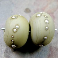 Handmade Lampwork Beads Opaque Sage Green Glass Bead Fine Silver Matte