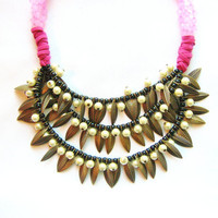 $55.00 NeonNative Necklace  Daphne brass foliage pearls by AlinaandT