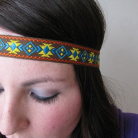 Aztec Headband, Yellow, brown, orange and turquoise, Tribal head band