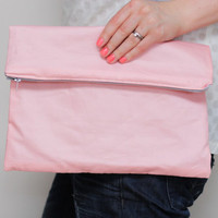 Fold over  Zipper Clutch in Sherbet Pastel Pink with by LumiStyle