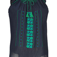 Vanessa Bruno Athé - Navy Embroidered Cotton Top