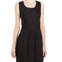 Pleated Bubble-Hem Dress