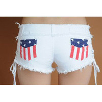 Flag package hip repair leg shorts denim shorts from abby