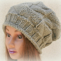 Brown Beret Slouchy Beanie hat Skull Cap Boho Chic Hand Knit Hat Womens Teens Hat: By PiYOYO