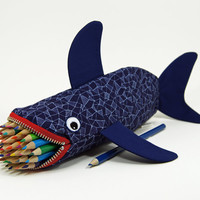 Geometric Shark by MinneBites / Shark Pencil Case - Handmade Mens Bag - Geeky Gift for Guys - Office Supplies - Desk Accessory