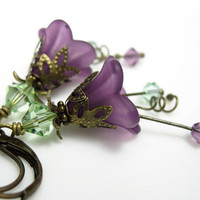 Chrysolite Lilac Lucite Swarovski Flower Earrings by jewelrybyNaLa