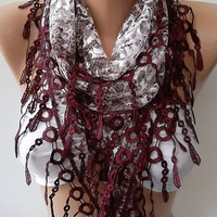 NEW- Mothers Day Gift  Burgundy  Lace Shawl/ Scarf - Headband