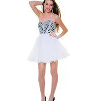White Tulle Rhinestone Strapless Lace Up Homecoming Dress - Unique Vintage - Prom dresses, retro dresses, retro swimsuits.