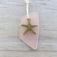 Petal Pink Sea Glass Necklace Starfish