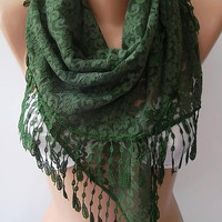 Green  Lace Triangle Scarf It made with good quality Lace -- Mothers Day