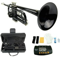Merano B Flat BLACK / Silver Trumpet with Case+Mouth Piece+Valve Oil+Metro Tuner:Amazon:Musical Instruments
