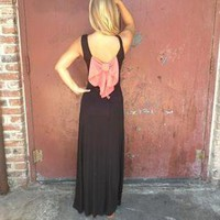 Black Sleeveless Maxi Dress with Contrast Bow Back