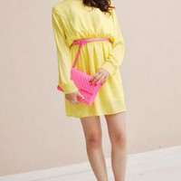 Womens Long Sleeved, High Waisted Dress
