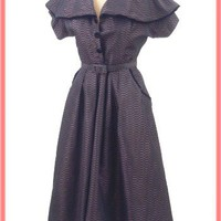 1950s Vintage Dresses-50's Striped Taffeta Shirtwaist Style Party Dress