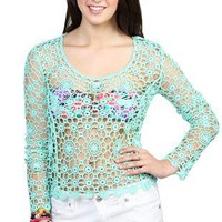 embroidered crochet sweater - 400003117192 - debshops.com