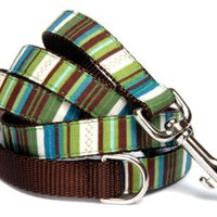 Forest green stripe dog leash : Classic green, teal blue and chocolate brown stripe cotton 100% fabric on durable brown nylon backing and handle with D ring for hunging waste bag. Handcrafted and made in the U.S.A. 1 inch, 5 ft:Amazon:Pet Supplies