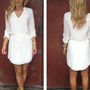 White Long Sleeve Dress with Drawstring Waist &amp; V-Neck