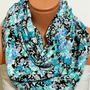 turquoise and black flowers Infinity Scarf,nomad scarf,,Loop Scarf,Circle Scarf, Multi-color cotton fabric Scarf,Cowl Scarf, Eternity Scarf