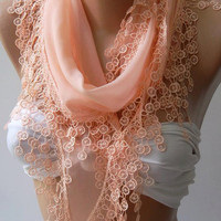 salmon pink  Elegant Scarf  -  Soft Scarf - Cotton Scarf