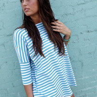 Azure Blue Striped Piko | The Rage