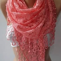 Womann -- Super elegant  scarf -- Lace scarf ....Pink