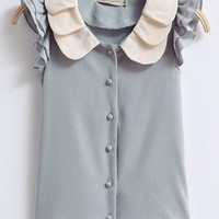 Sweet Color Block Chiffon Shirt