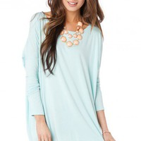 Cozy Long Sleeve Top in Icy Mint - ShopSosie.com