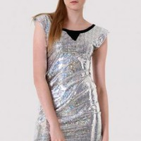Metallic Structured Shift Dress