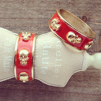 Pree Brulee - Red Edgy Skulls Bangle