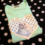 Mint Cat Applique Tee