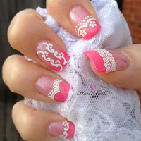 Lace Glitter White Nail Art Stickers Nail Decals by Hailthenails