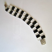 Black and White Chess Board Bracelet