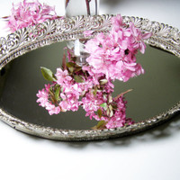 Vintage Vanity Tray with Mirror, Ornate Shabby Chic White-Washed Metal Frame