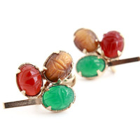 Vintage Genuine Scarab Screw Back Earrings -  Mid Century 1960s Gold Filled Semi Precious Clip On Jewelry / Green, Red, Brown
