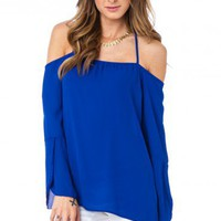 Belleza Off Shoulder Bouse in Blue - ShopSosie.com
