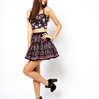 ASOS Skater Skirt in Folk Print