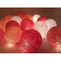 Amazon.com: I Love Handicraft Orange Pink and White Color Cotton Ball String Lights Patio Wedding and Party Decoration (20 Balls/set): Everything Else